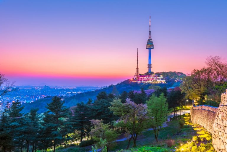 Twilight Seoul Tower in Spring at South Korea