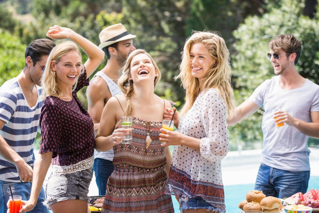 friends enjoying pool party